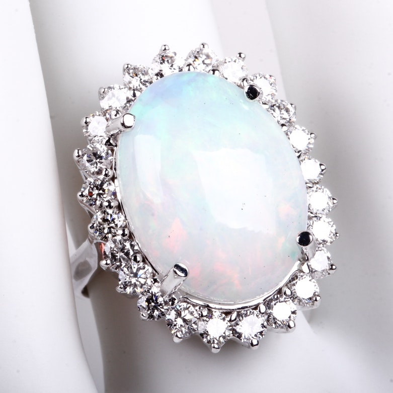 18K White Gold, 5.67 CTS Opal, and 1.30 CTW Diamond Cocktail Ring