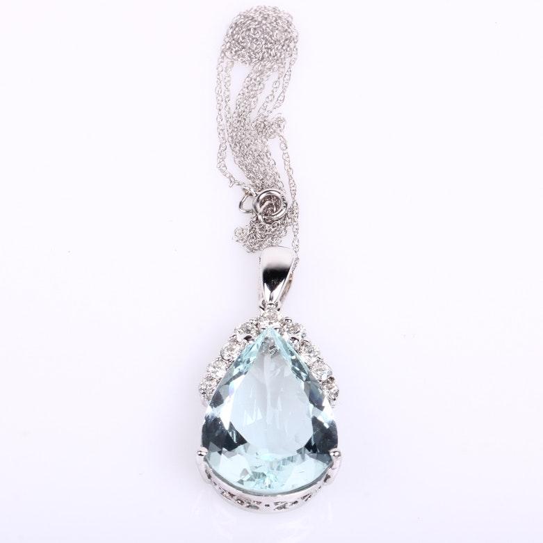 14K White Gold, Pear Shaped Aquamarine, and Diamond Pendant Necklace