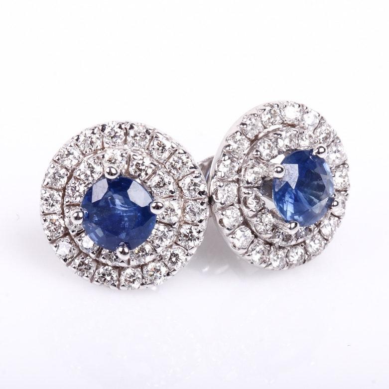 14K White Gold, Sapphire and Diamond Stud Earrings