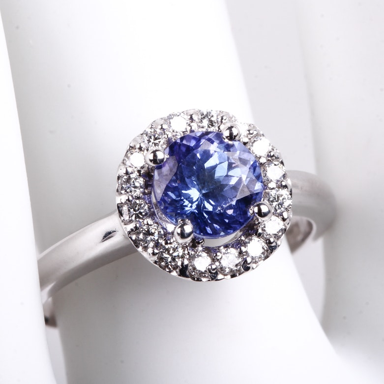 14K White Gold, Tanzanite, and Diamond Halo Ring