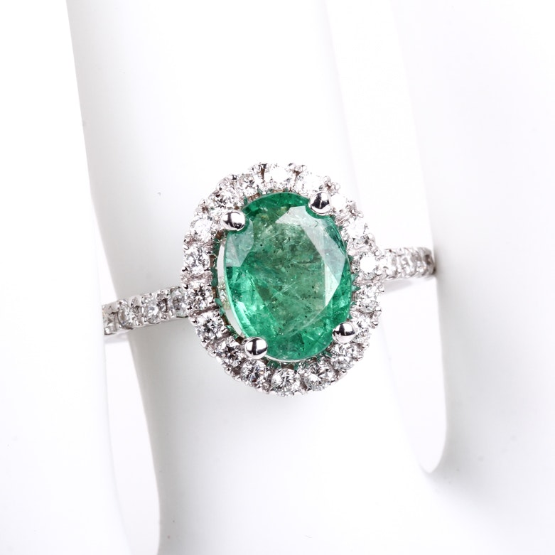 14K White Gold, Emerald, and Diamond Halo Ring