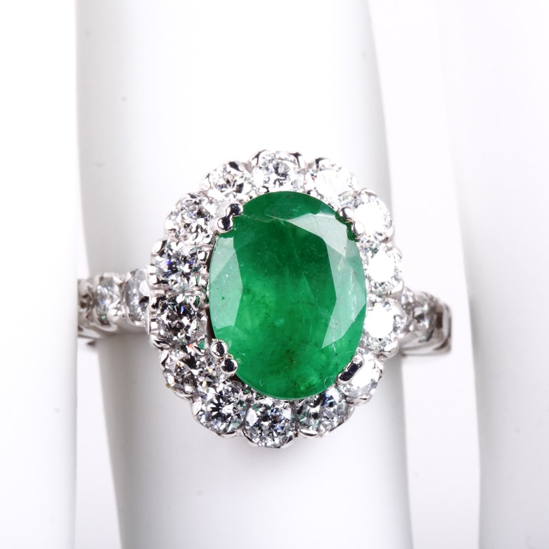 14K White Gold, Emerald, and 1.00 CTW Diamond Halo Ring