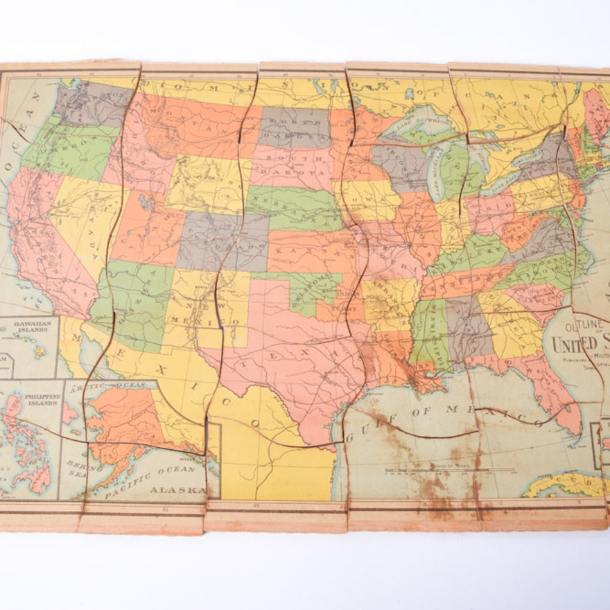 Antique Milton Bradley Dissected Map Puzzle with Box