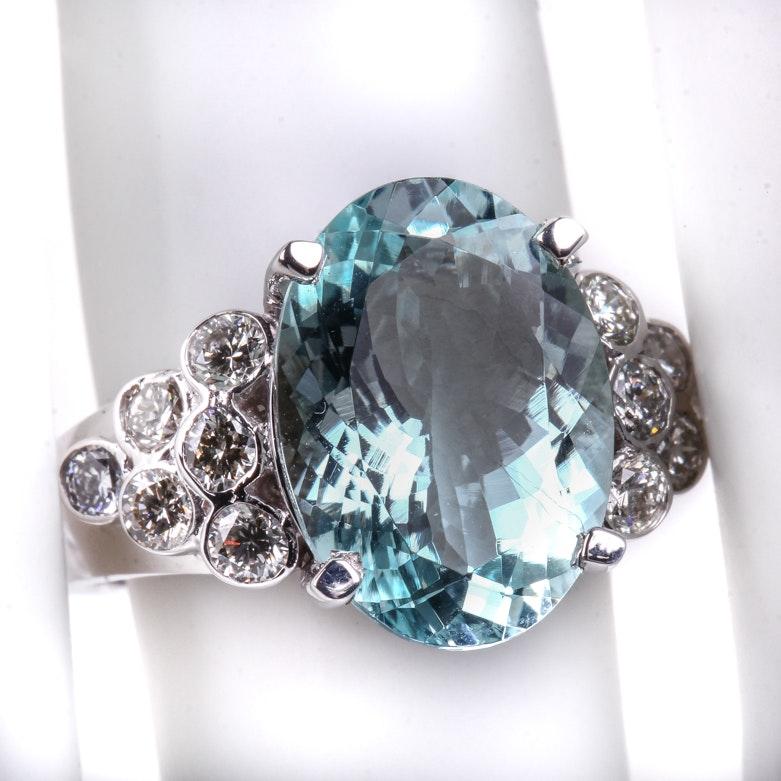 14K White Gold, Aquamarine, and Diamond Cocktail Ring