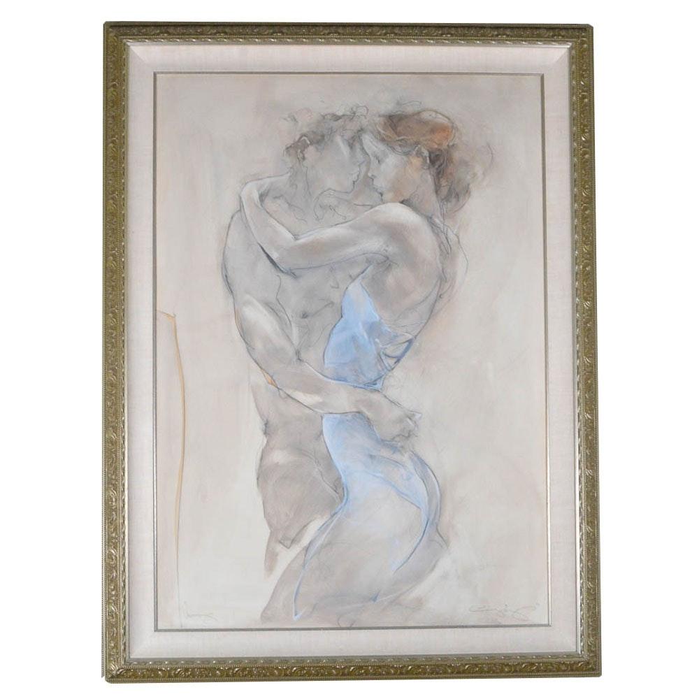 "Signed Jurgen Gorg Oil on Canvas ""Umarmung"" ""The Embrace"""