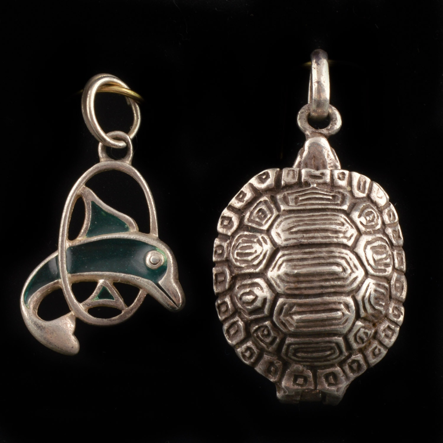 Sterling Silver Turtle and Dolphin Charms