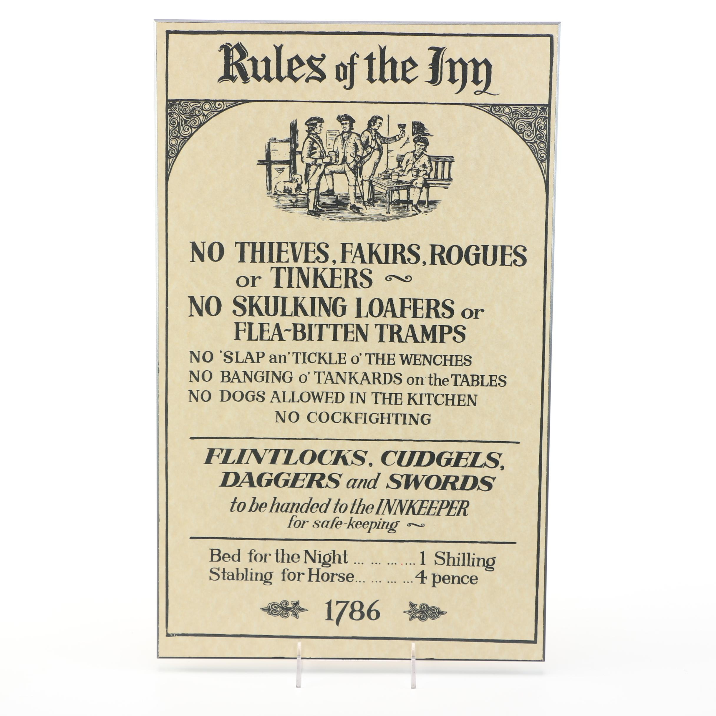 "Offset Lithograph ""Rules of the Inn"""