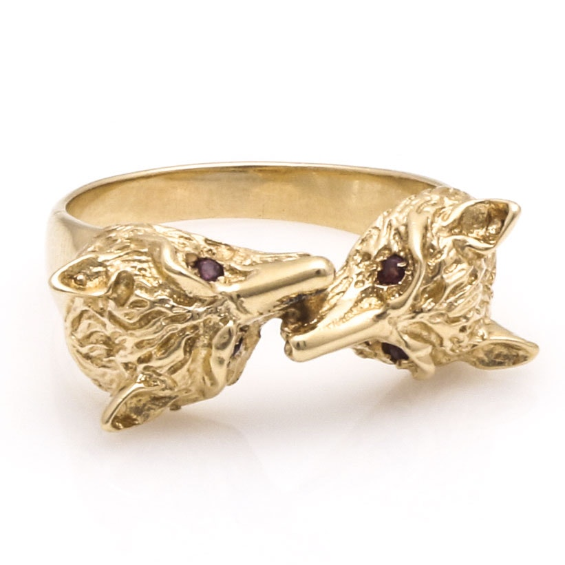 14K Yellow Gold Ruby Fox Head Ring