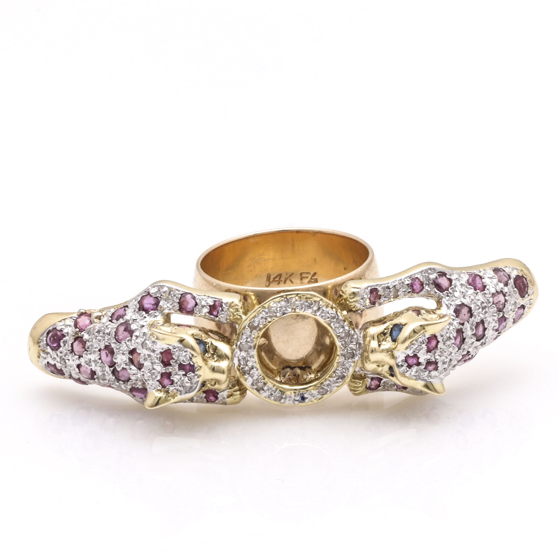 14K Yellow Gold Diamond, Ruby, and Sapphire Leopard Ring