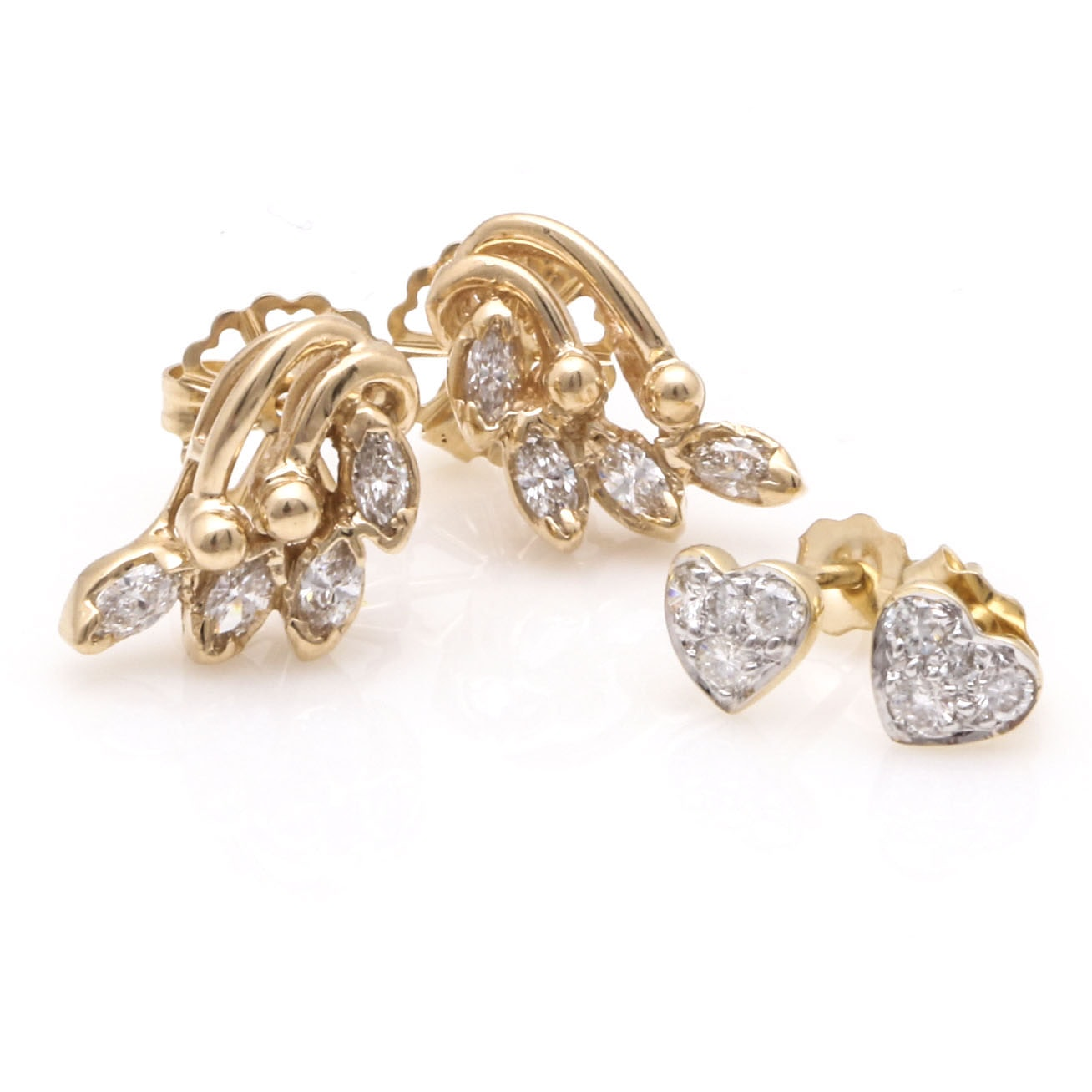 14K Yellow Gold Diamond Heart and Floral Earrings