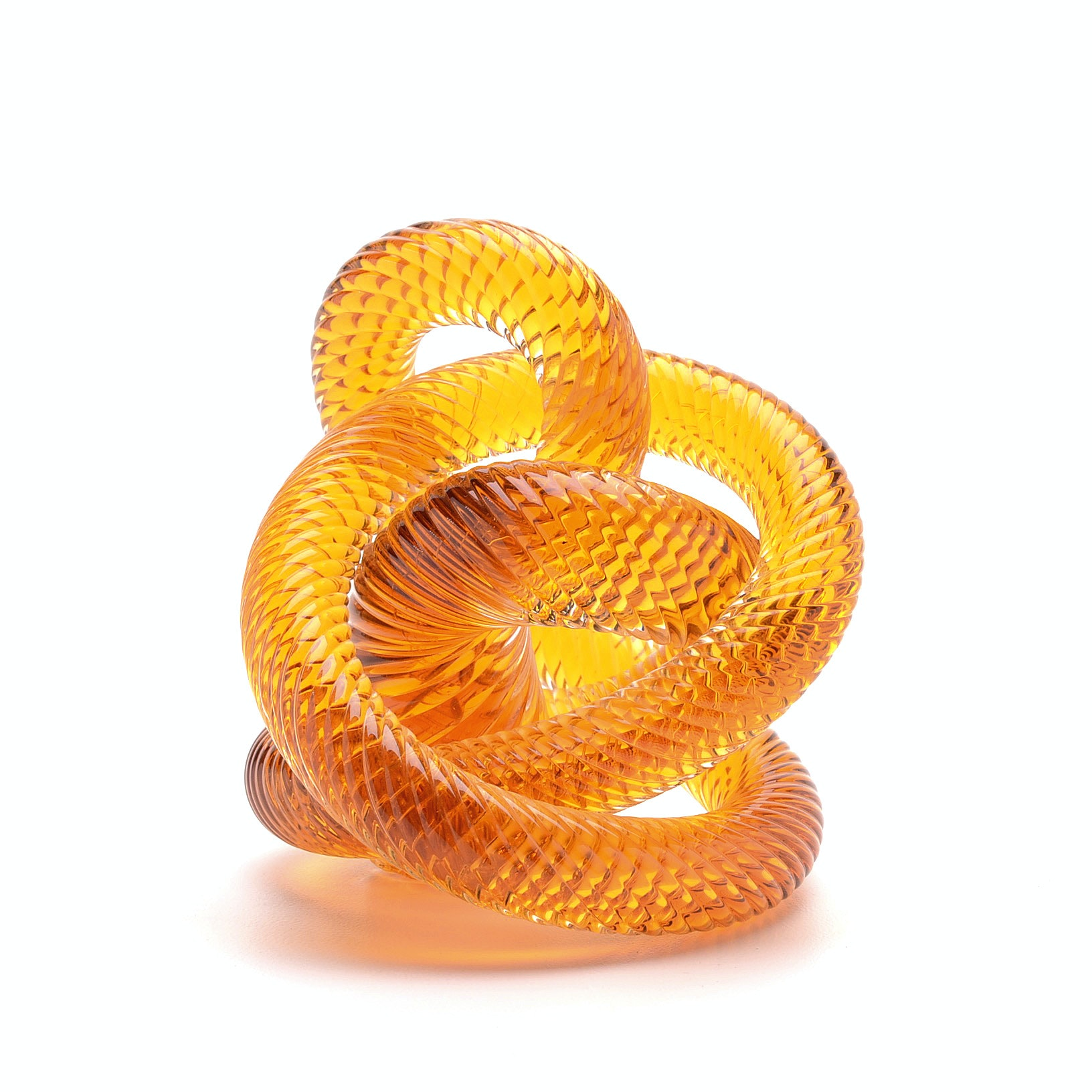 Fusion Z Amber Art Glass Knot Paperweight