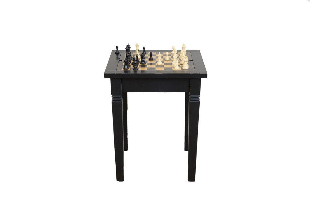 Contemporary Games Table With Chess Pieces By Pottery Barn ...