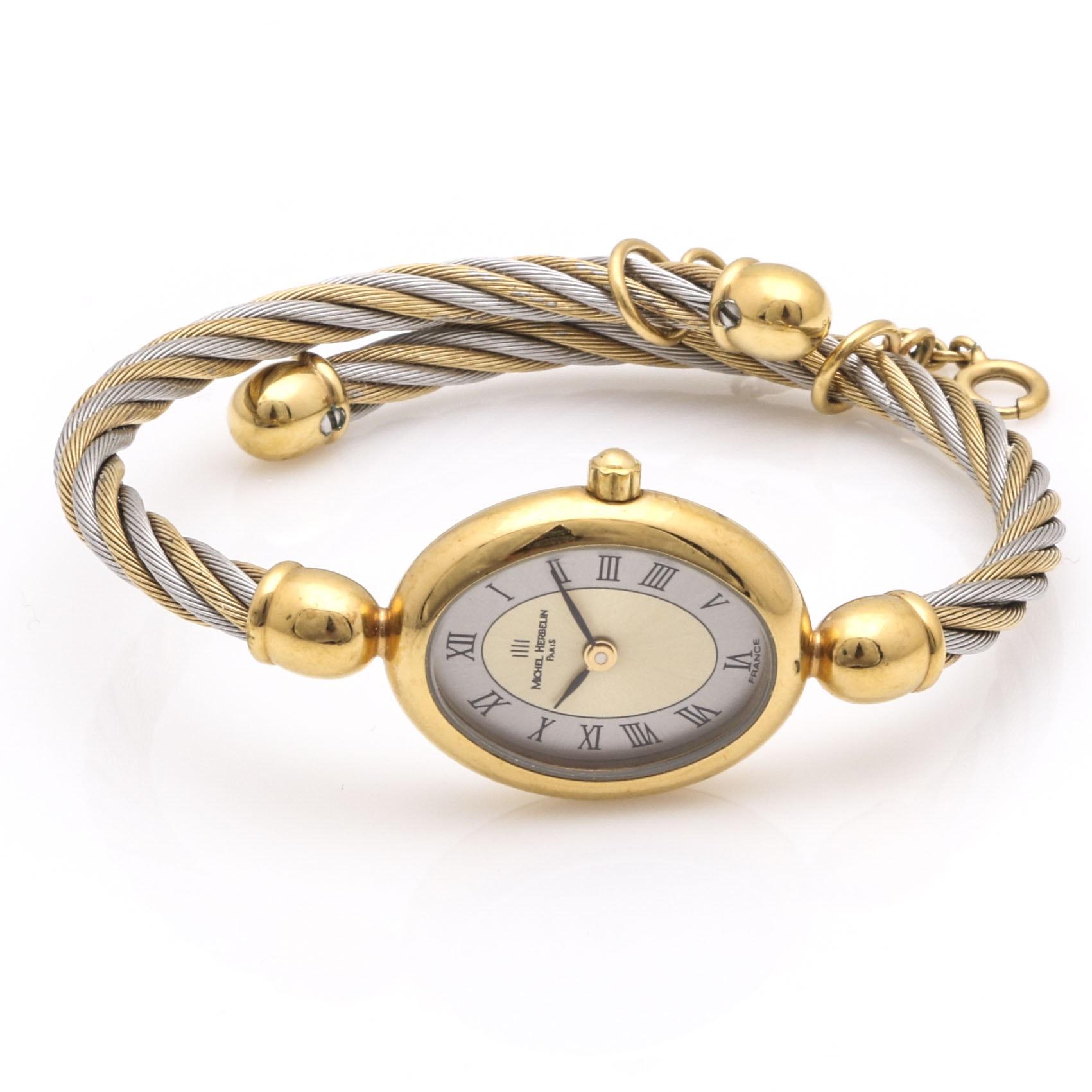Michel Herbelin Silver and Gold Tone Women's Watch