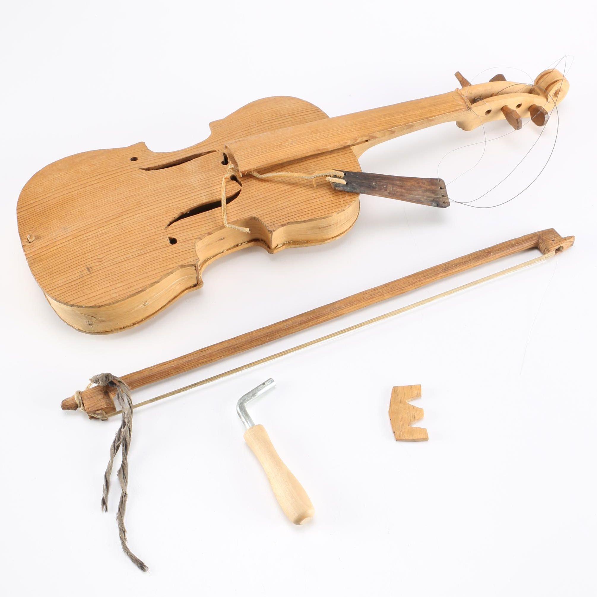 Decorative Wooden Violin Sculpture