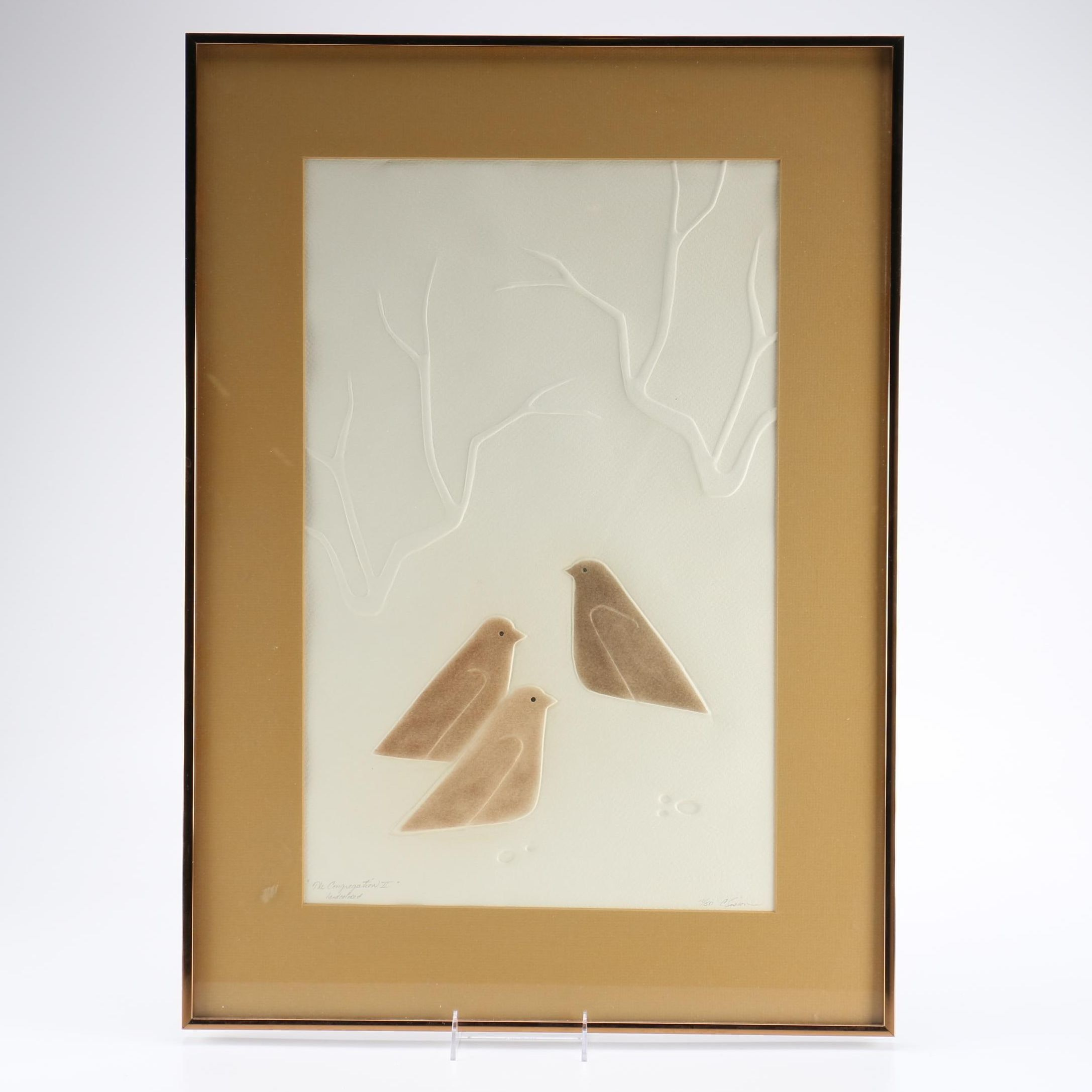 """Cheryl R. Sisson Signed Limited Edition Hand Colored Embossing """"The Congregation II"""""""