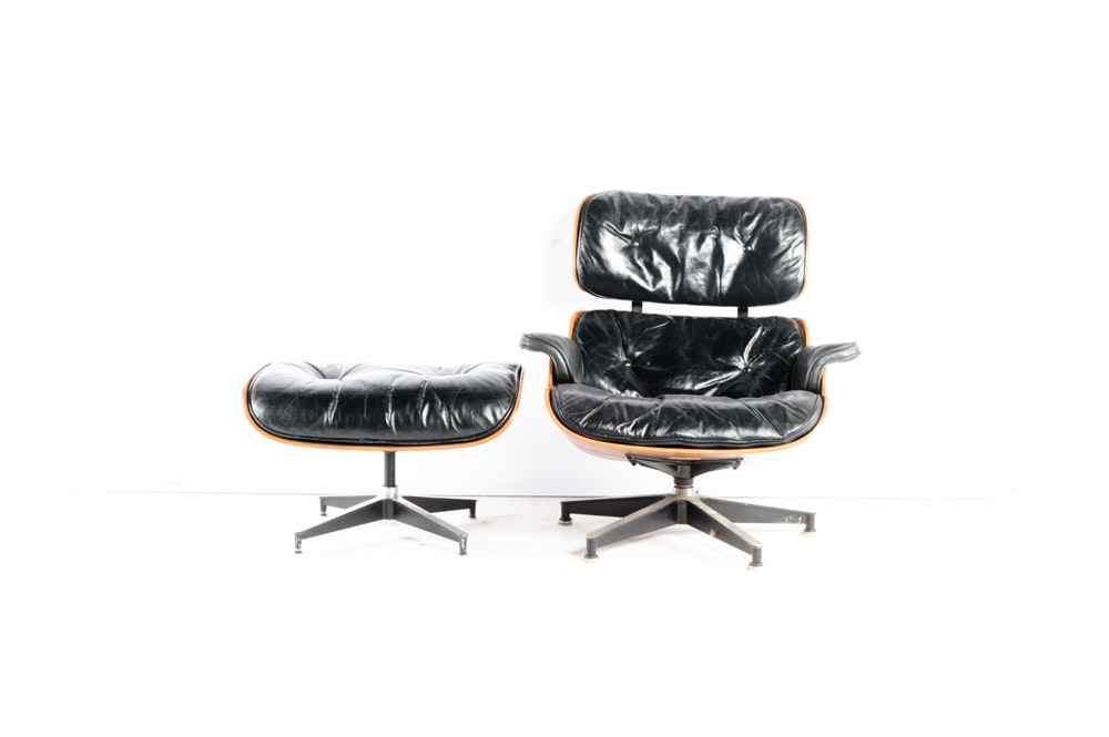 vintage 1960s herman miller eames lounge chair and ottoman