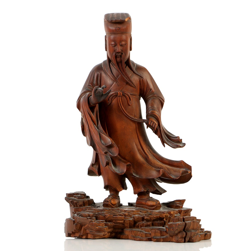Fine Chinese Rosewood Carving Of A Scholar Official Ebth