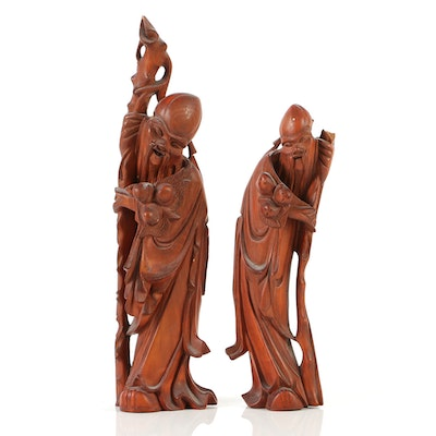 Pair of Chinese Rosewood Carvings of Shouxing the God of Longevity