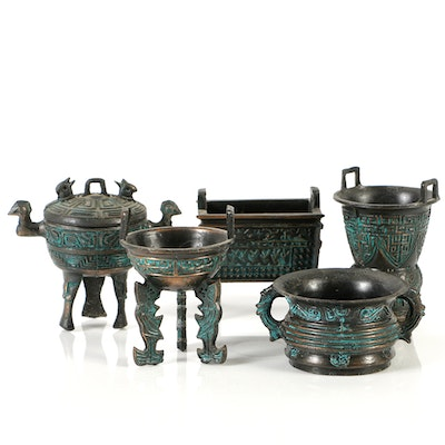 Collection of Chinese Archaic Style Cast Metal Censer