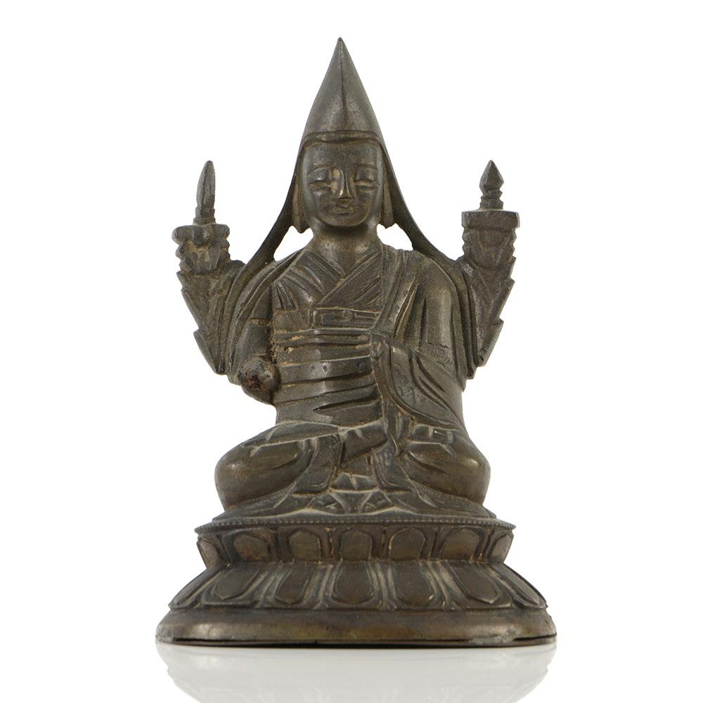 19th Century Bronze of a Tibetan Lama