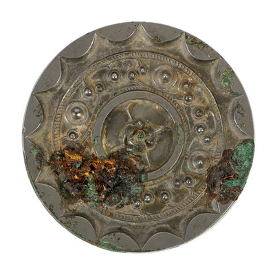 Chinese Pewter Cast Mirror