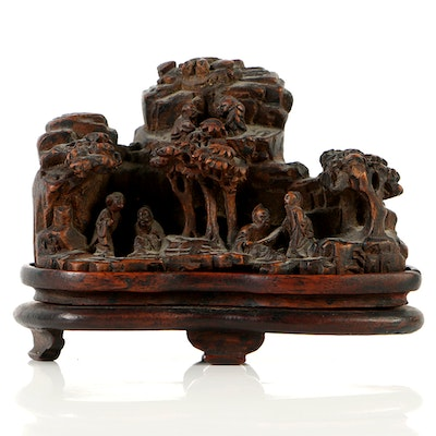19th Century Chinese Bamboo Scholar Carving