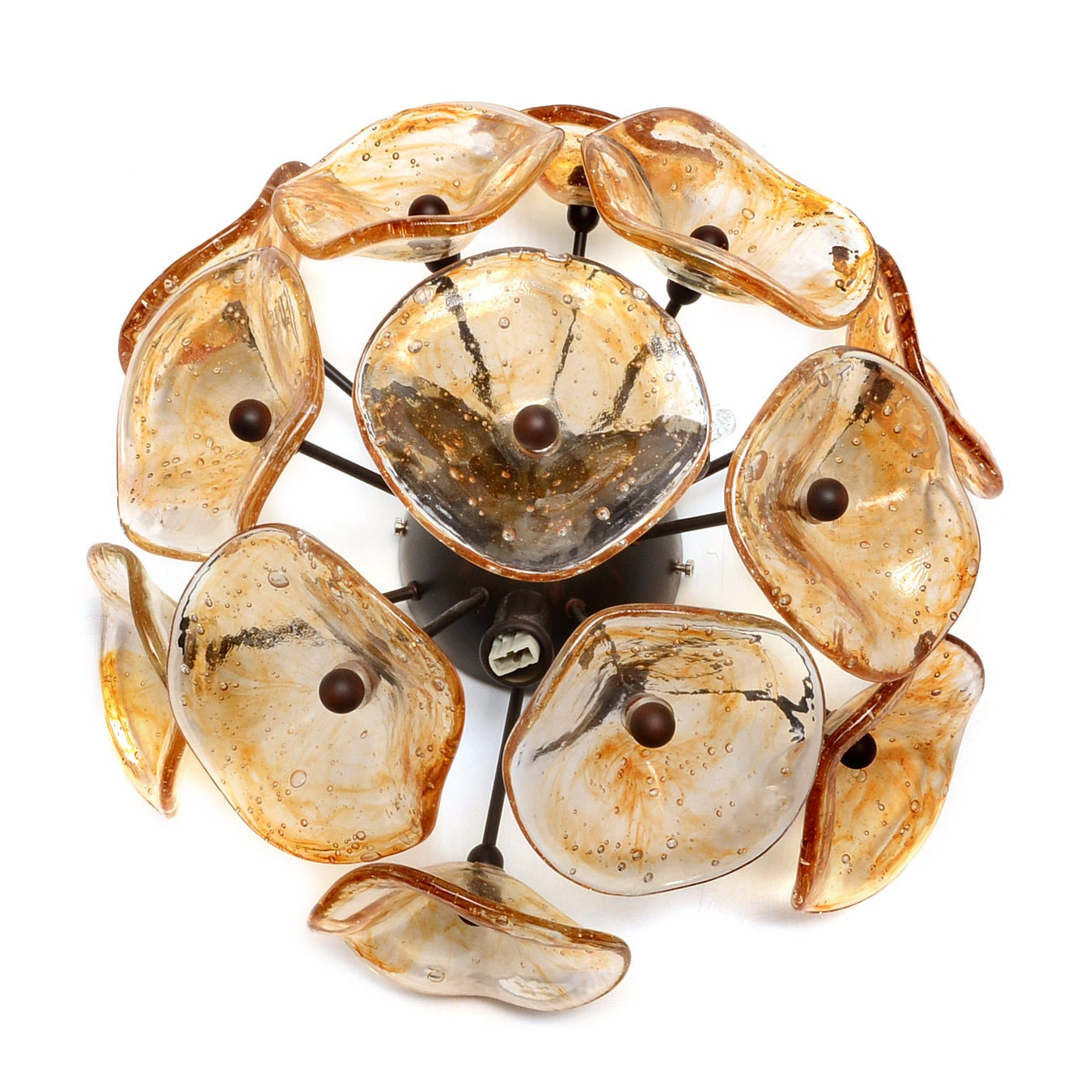Hand-blown Amber Murano Glass Ceiling Light