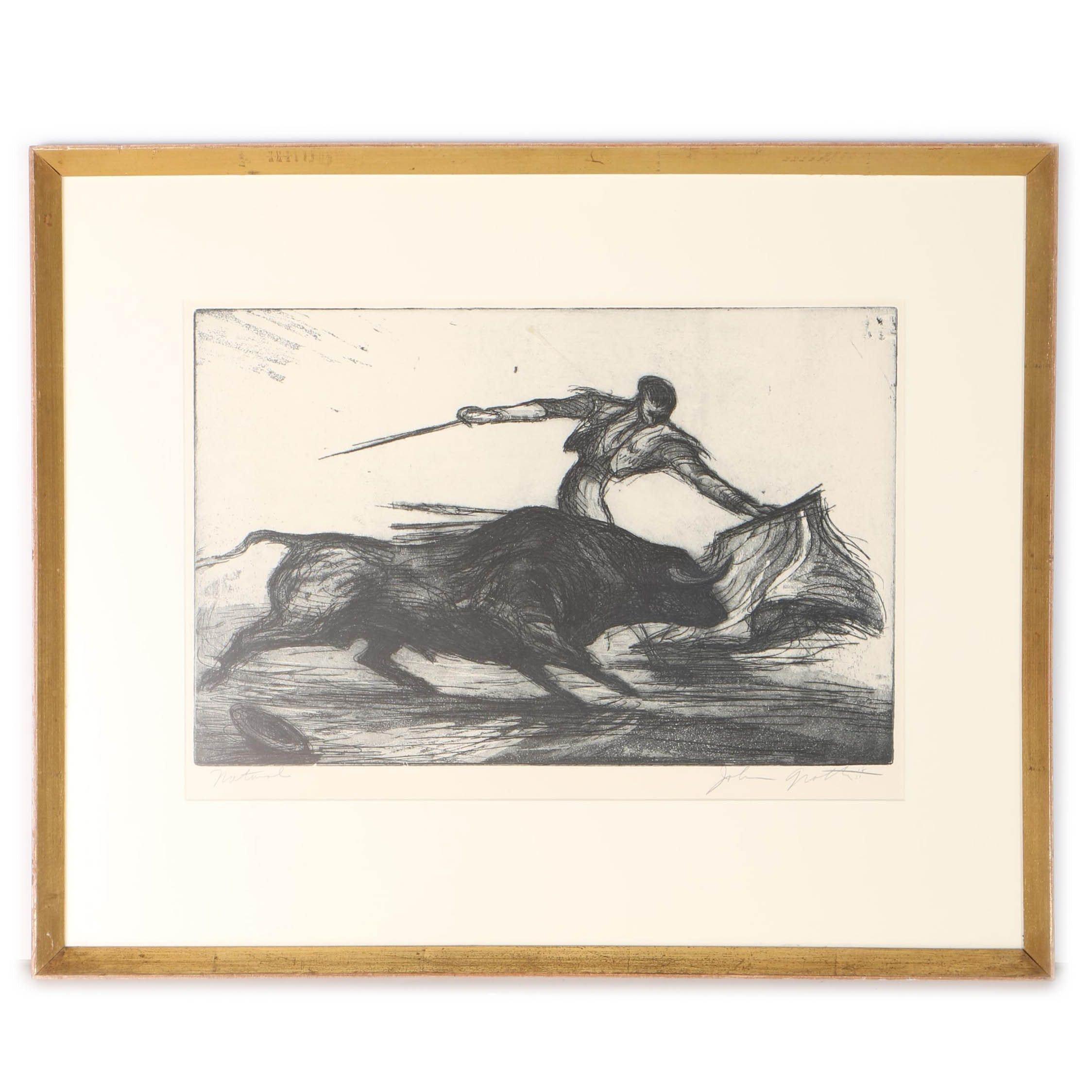 John Groth Aquatint Etching on Paper of a Matador