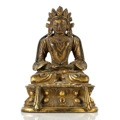 Seated Sino-Tibetan Amitābha Buddha Bronze