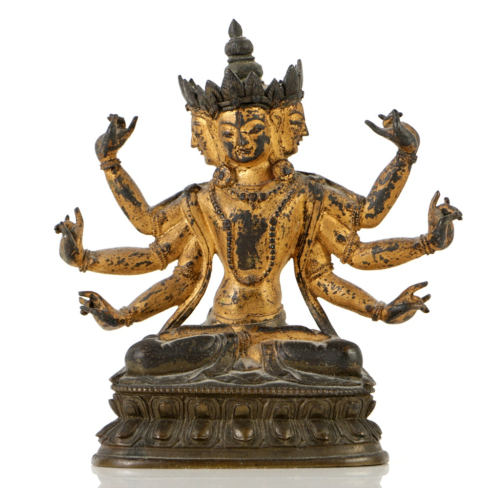 Tibetan Bronze of Three-Headed, Six-Armed Seated Bodhisattva