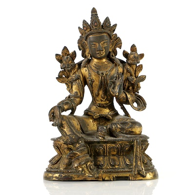 Tibetan Gilt Bronze Statue of the Green Tārā