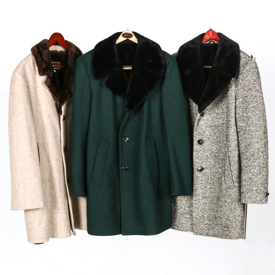 60514b52f770 Collection of Men s Vintage Wool Coats with Faux Fur Collars   EBTH