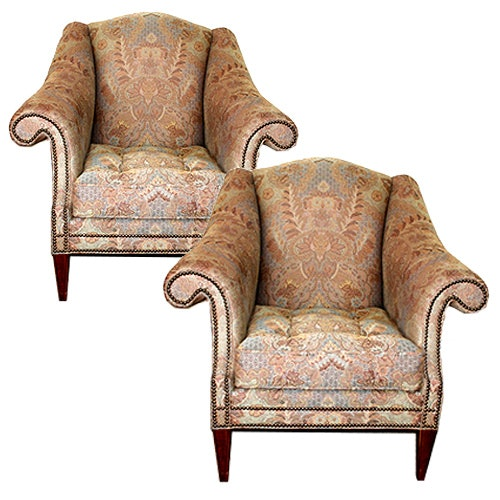Pair of Regency Style Upholstered Armchairs