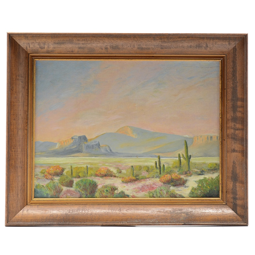 Original Oil on Academy Board Southwestern Landscape