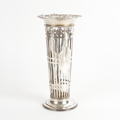 J.E. Caldwell Reticulated Sterling Silver Bud Vase