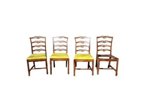 Vintage Chippendale Style Ribbon Back Side Chairs
