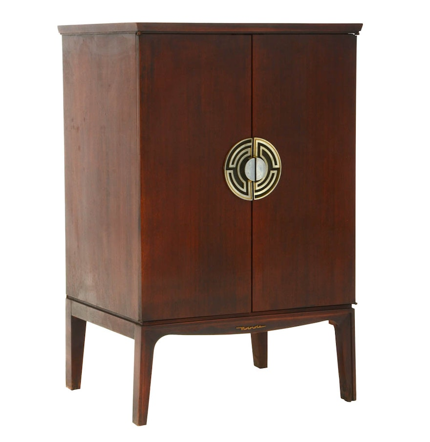 1950s motorola mahogany asian inspired console cabinet ebth for Asian console cabinet