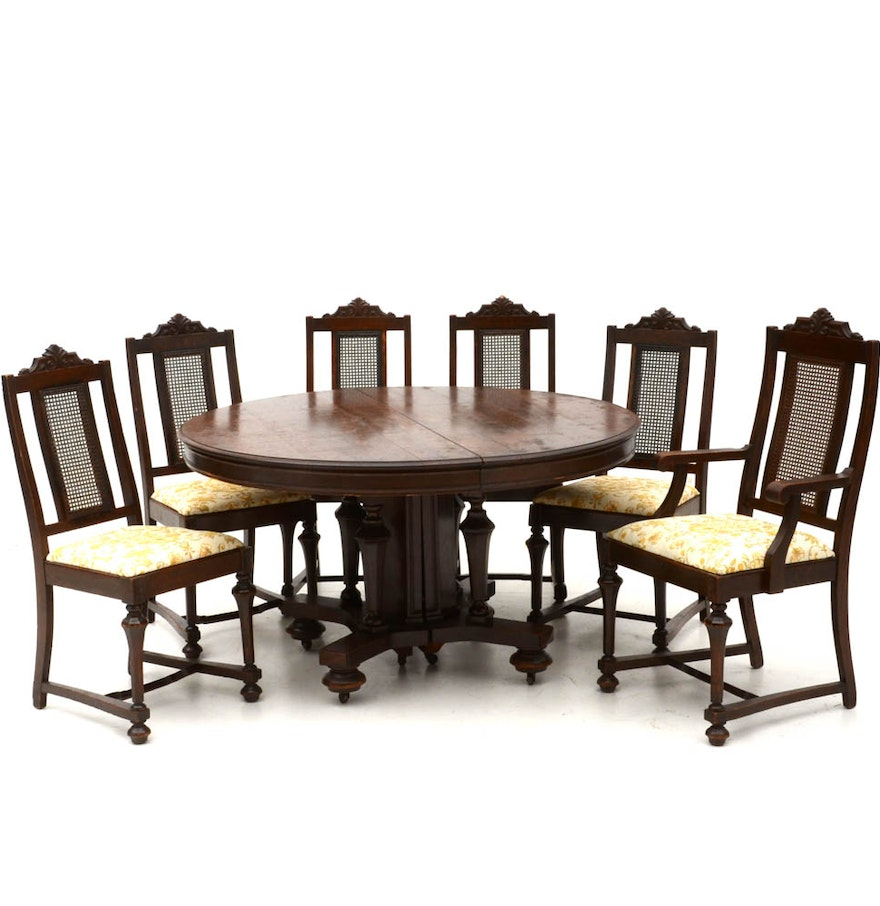 Vintage oak jacobean revival dining table and six chairs for Dining table and six chairs