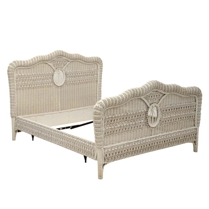 Ralph Lauren White Wicker Queen-Size Bed Frame : EBTH