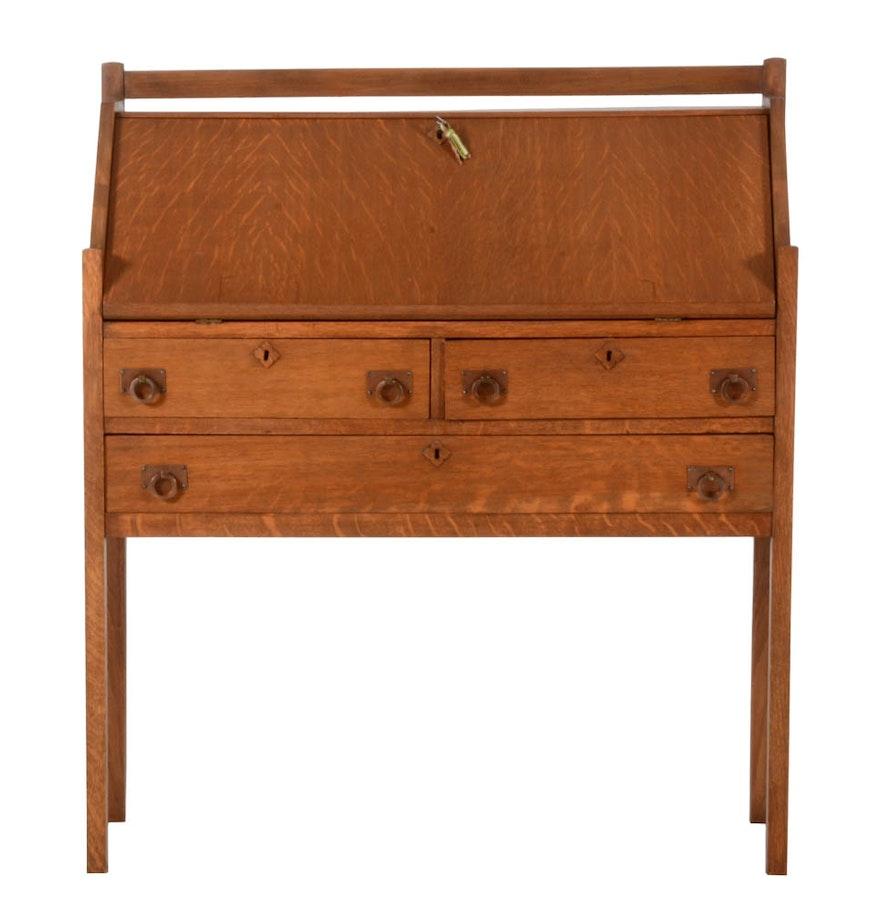 Arts crafts desk - Arts And Crafts Style Oak Slant Front Desk
