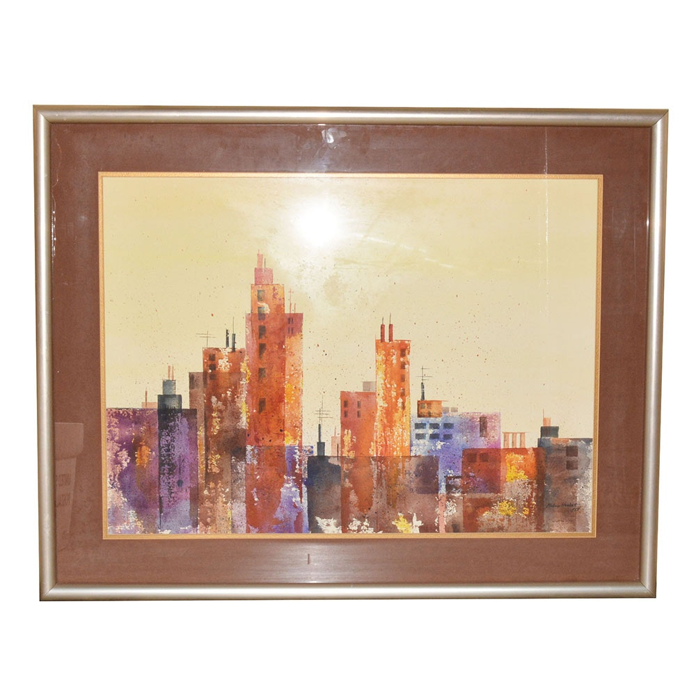 "Mickey Hackett Signed Original Watercolor ""Cityscape III"""