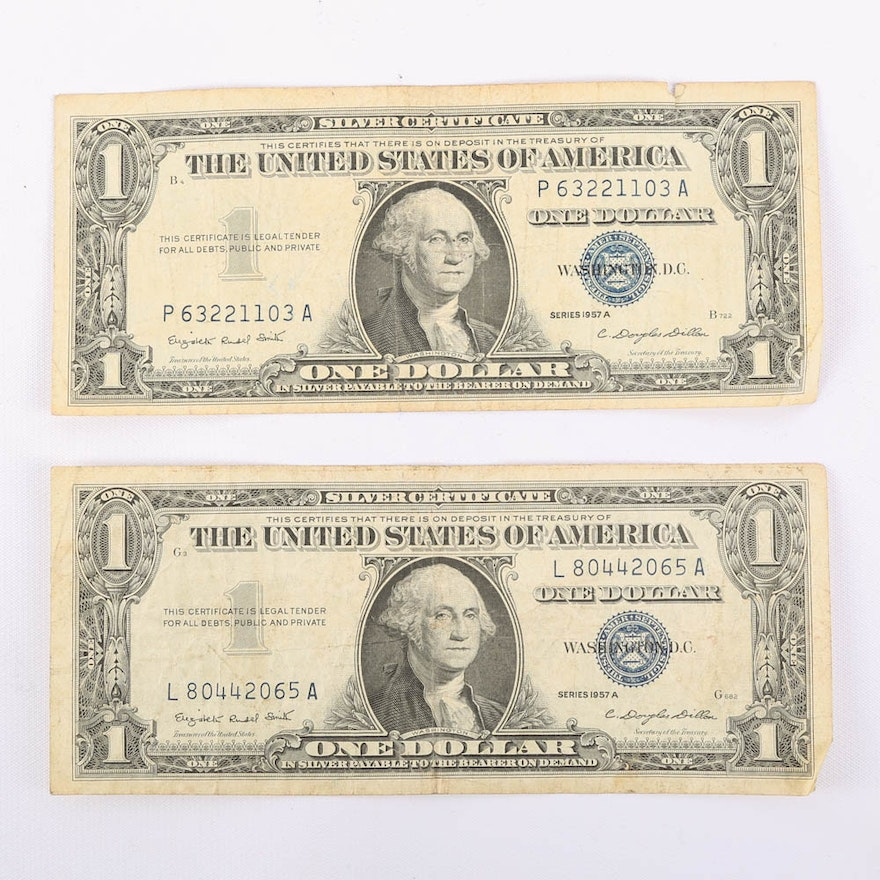 Pair Of 1957 A One Dollar Silver Certificates Ebth