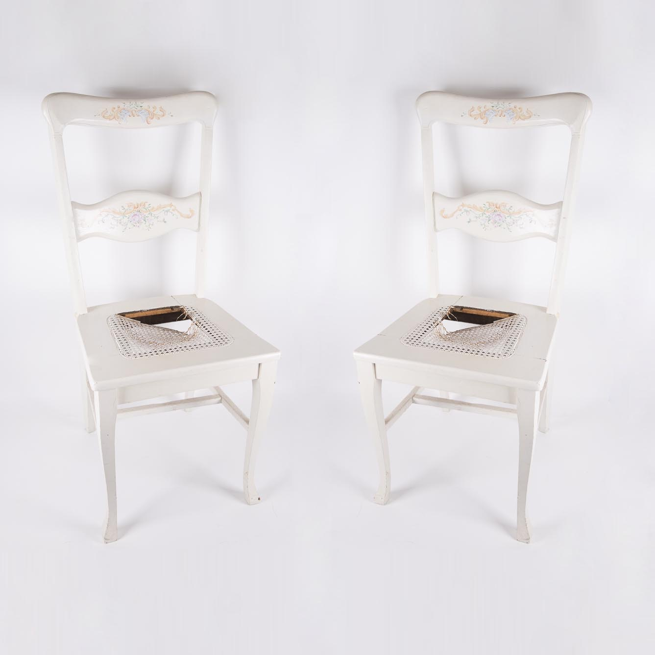 Vintage Painted Cane Seat Chairs