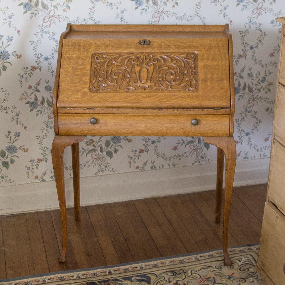 Carved Front Oak Secretary Desk