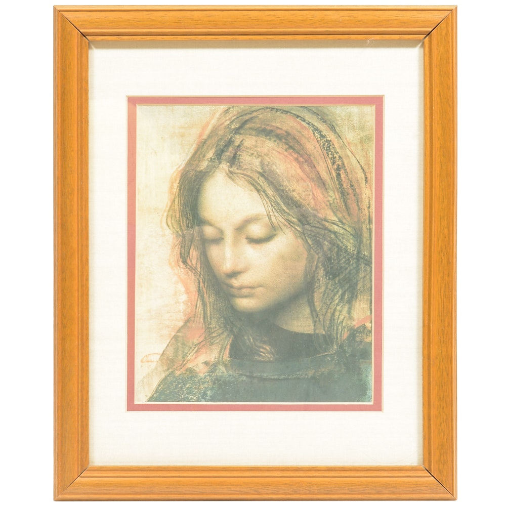 Impressionist Pastel Portrait of Woman
