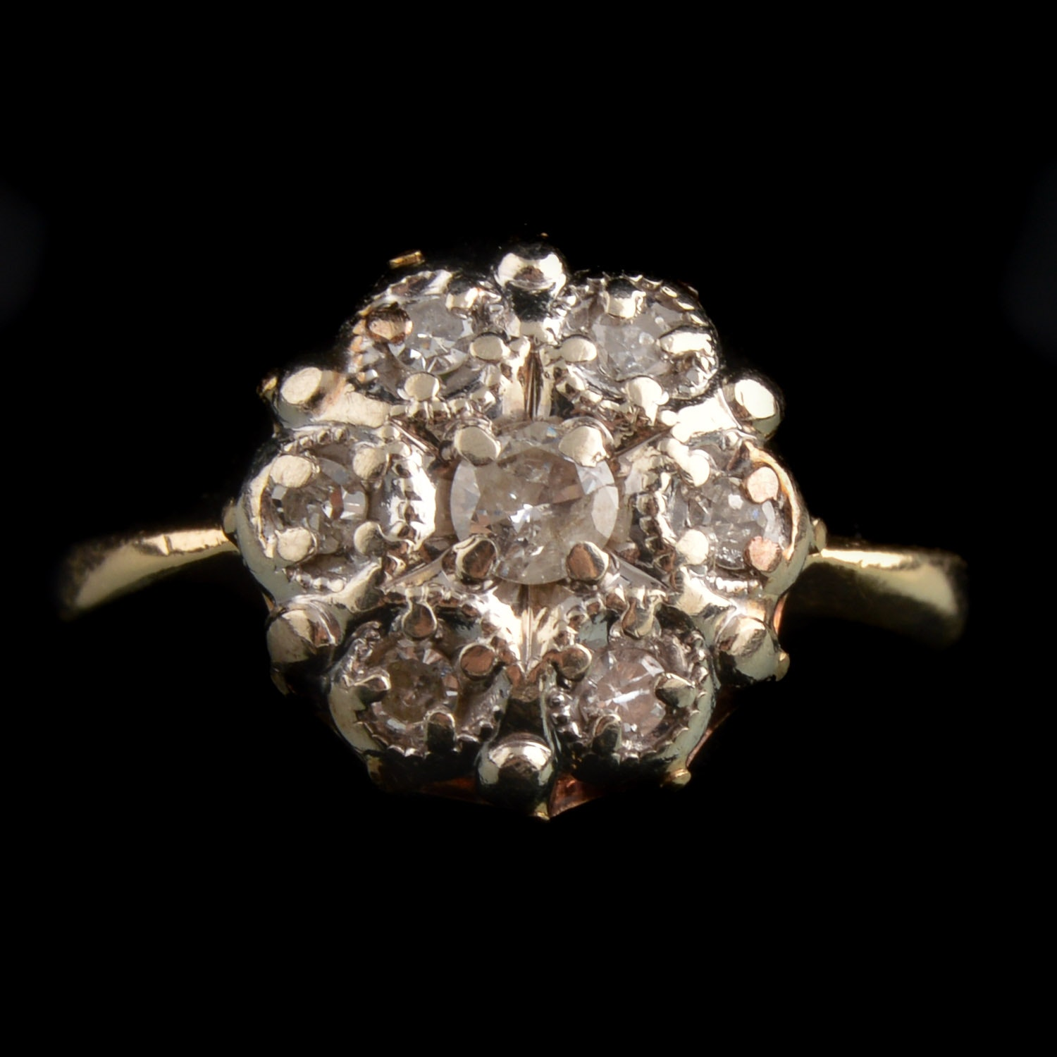0.30 CTW Diamond and 14K Yellow Gold Cluster Ring