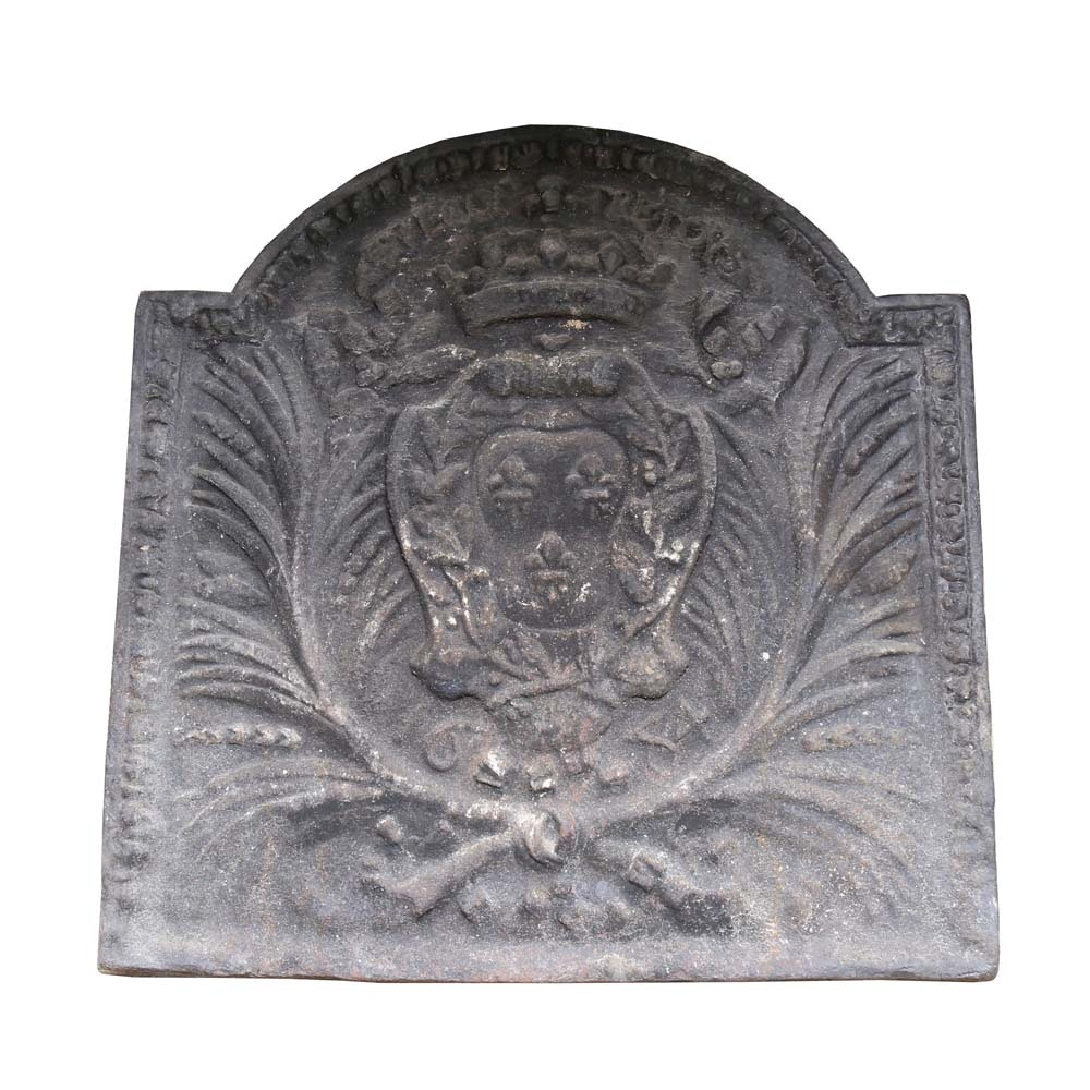 Lovely Antique Cast Iron Fireplace Back Plate ...