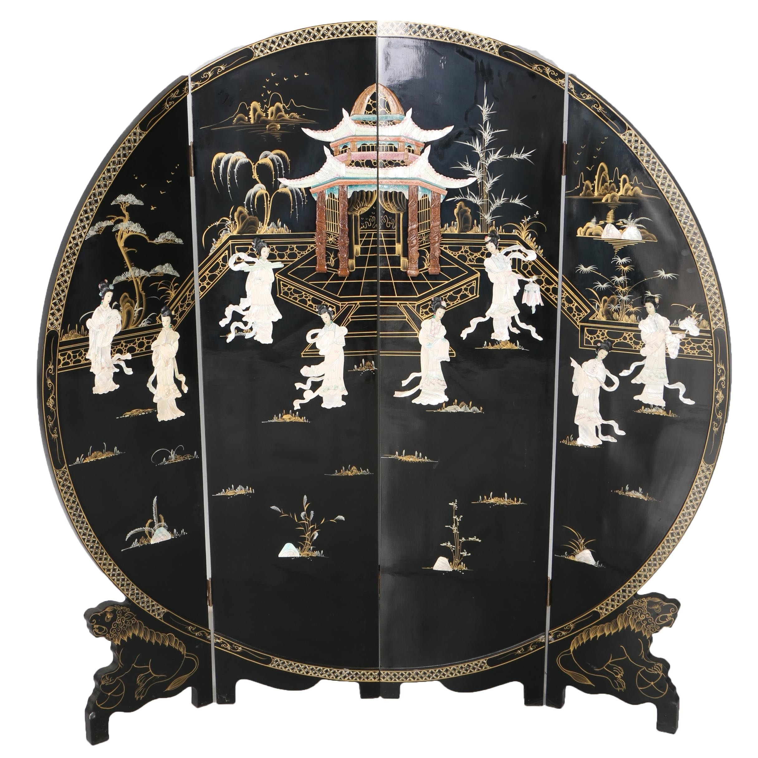 Chinese-Inspired Round Black Lacquered  Room Divider