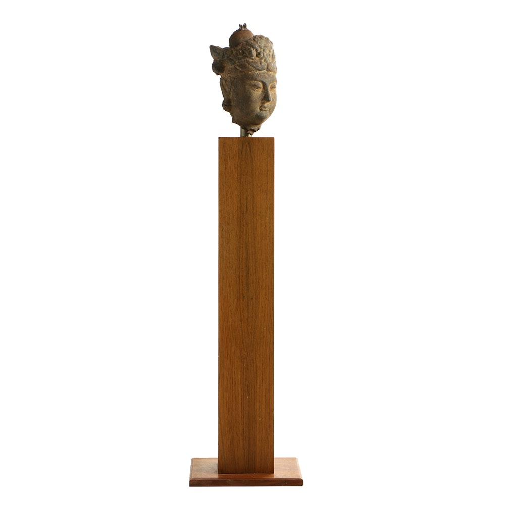 19th Century Bodhisattva Bust on Wooden Pedestal