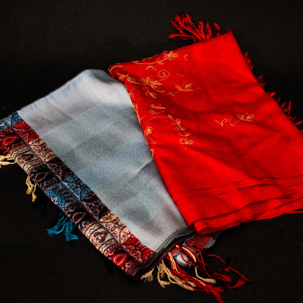 Embroidered Pashmina and Silk Blend Wraps